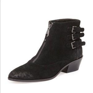 Rebecca Minkoff Alex Moto Black Suede Front Zip Ankle Booties Size 7.5